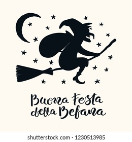 Hand written Italian quote Buona Festa della Befana, Happy Holiday of Befana, with flying witch. Isolated objects on white. Hand drawn vector illustration. Design concept, element for card, banner.