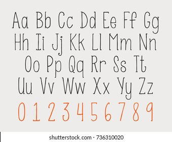 Hand written letter design. vector hand drawn alphabet and numbers. hand drawn typeface illustration