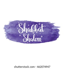 "Hand written lettering with text ""Shabbat shalom"". Typographical design element for jewish holiday shabbat."