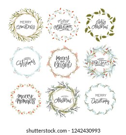 """Hand written """"Merry Christmas"""" phrase. Christmas wreath. Unique design for your greeting cards, banners, flyers. Vector illustration."""