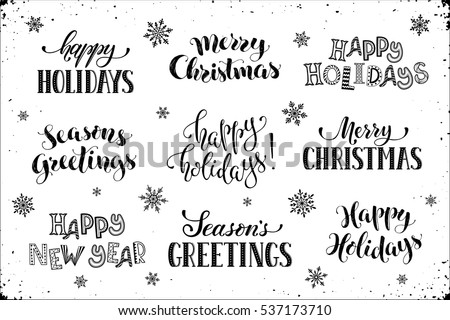 Hand Written New Year Phrases Greeting Stock Vector (Royalty Free ...