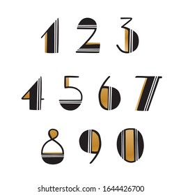 Hand written numeral font set. All arabic numerals are black and gold color. Hand drawn ink brushes numerals retro style. Stock vector illustration isolated on white background.