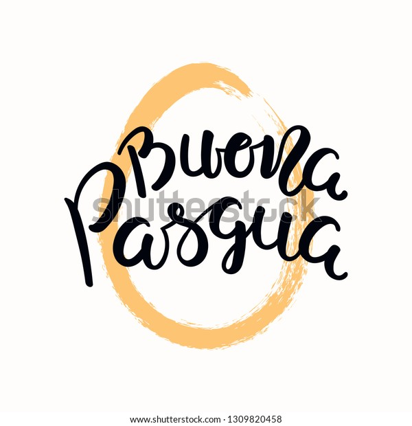 Hand written quote Buona Pasqua, Happy Easter in Italian, with egg outline. Isolated objects on white background. Hand drawn vector illustration. Design concept, element for card, banner, invitation.