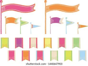Hand written style flag set fancy