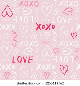 Hand Written Valentine's Day Typography vector seamless pattern. Hand Drawn Doodle Hearts and Words Love. XOXO. Graffity