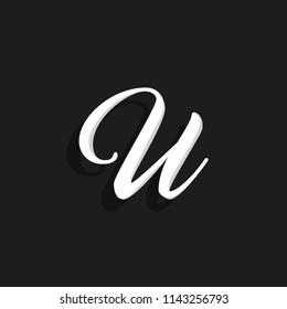 Hand Written Vector Logo Letter U. U Letter Design Vector