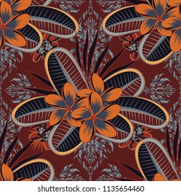 Hand written vector plumeria flowers, stamps, keys. Vintage seamless pattern in orange, brown and gray colors.