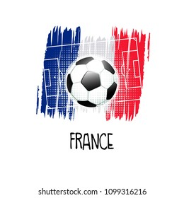 "Hand written word ""France"" with soccer ball, soccer field and abstract colors of the French flag. Vector illustration."