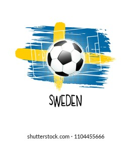 "Hand written word ""Sweden"" with soccer ball, soccer field and abstract colors of the Swedish flag. Vector illustration."