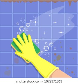 The hand in a yellow glove with sponge washes a tiles. A concept for cleaning companies. Before and After Cleaning. Flat vector illustration.