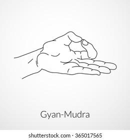Hand in yoga mudra (Dhyana-Mudra or Gyan-Mudra or Jnana-Mudra). Vector illustration. Yogic hand gesture.
