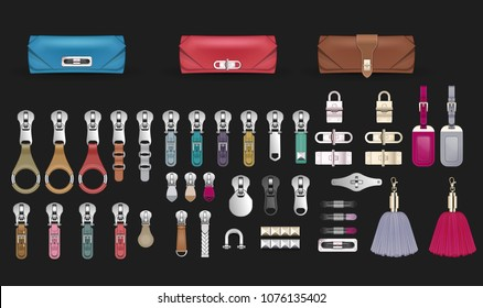 Handbag accessories closures tassels embellishment luggage tag zipper pulls fashion accessories belt buckle metal hardware design clutch bag