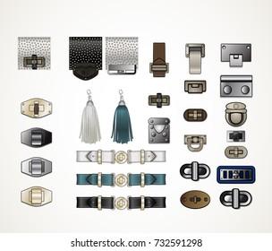 Handbag accessories hardware illustration isolates closures tassels clasps