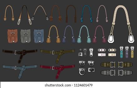 Handbag accessories illustration templates design handles design parts zipper pulls buckles tabs hardware closures pocket