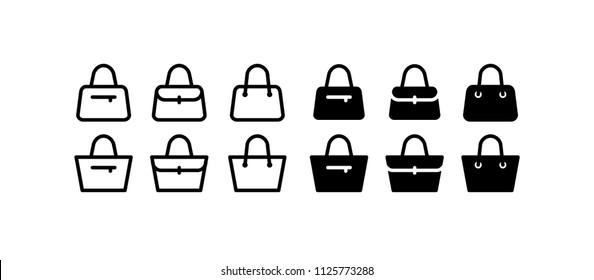 Handbag Icon Design Vector Symbol Set Purse Shopping Bag