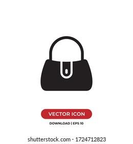 Handbag icon vector. Simple filled woman handbag sign