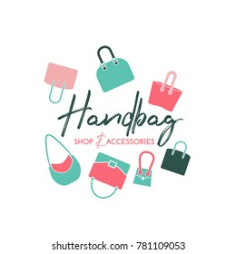 Handbag shop logo in a modern flat style. Vector illustration in pink, mint and green colors isolated on a white background. Fashion and accessories creative concept.