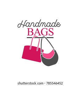 Handbag shop logo. Vector illustration in pink and grey colors isolated on a white background. Fashion and accessories creative concept.