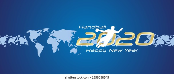 Handball 2020 Happy New Year gold white silhouette logo icon abstract world map blue background