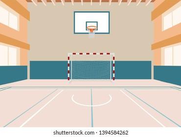 Handball and basketball gym.handball goal.basketball hoop.hall for sports.sports hall with markings.vector image