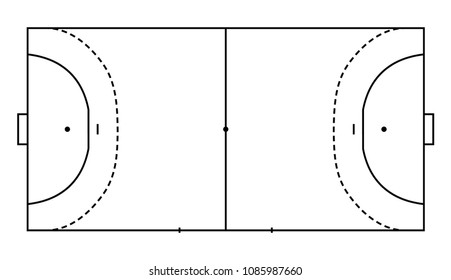 handball field, cort eps10 field top view vector illustration, Line art style.