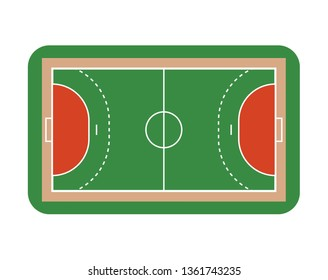 Handball field. Top view. Isolated on white background