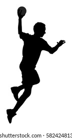 Handball player in action, attack shut in jumping vector silhouette illustration. Elegant  man body sport figure. Dynamic athlete jump and shooting penalty in goal. Sportsman, handball boy.