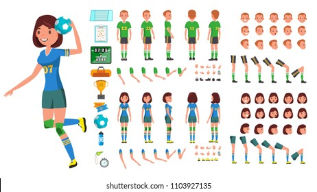 Handball Player Male, Female Vector. Animated Character Creation Set. Man, Woman Full Length, Front, Side, Back View, Accessories, Poses, Face Emotions, Gestures. Isolated Flat Cartoon Illustration