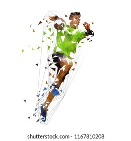 Handball player shooting ball, abstract polygonal vector illustration. Isolated low poly drawing