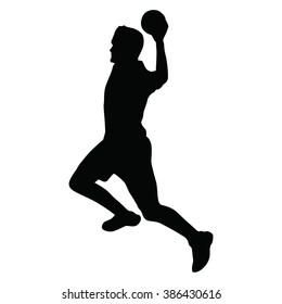 Handball player vector silhouette, side view