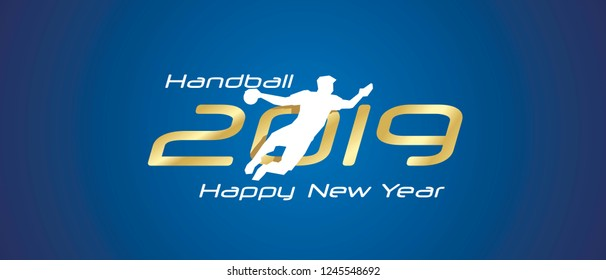 Handball silhouette 2019 Happy New Year gold white logo icon blue background