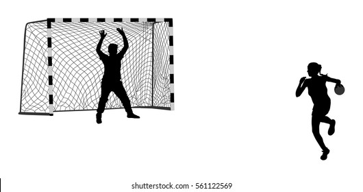 Dynamic Sports Figures Silhouette: Handball Silhouette Images, Stock Photos & Vectors