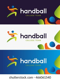 Handball vector banner. Abstract colorful silhouette of player for tournament identity. Handball College Championship.