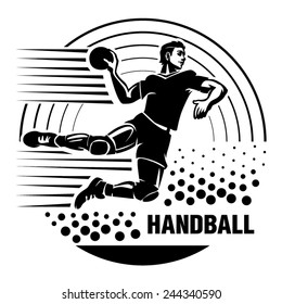 Handball. Vector illustration in the engraving style