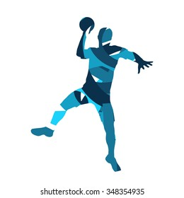 Handball vector player. Abstract blue silhouette