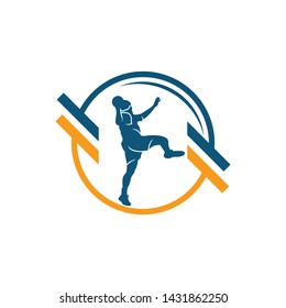 Handball vector sign. Abstract colorful silhouette of player for tournament logo or badge. Handball logo team