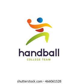 Handball vector sign. Abstract colorful silhouette of player for tournament logo or badge. Handball College team