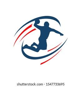 Handball vector sign logo. Abstract colorful silhouette of player Handball logo team template