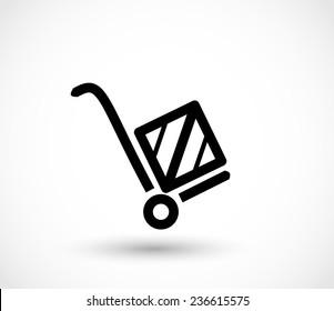 Handcart icon vector