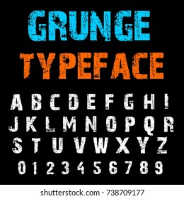 Handcrafted alphabet script font and numbers. Hand drawn ABC lettering and typography typeface named Grunge Typeface