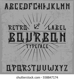 Handcrafted 'Bourbon' label font with decorations.