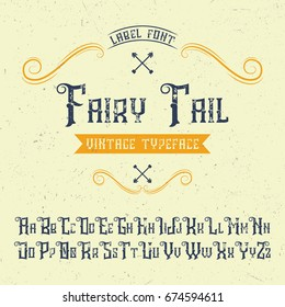 Handcrafted 'Fairy Tail' font with decorations. Vintage label.