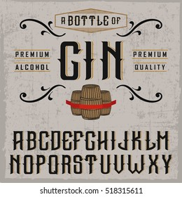 "Handcrafted ""Gin"" font with barrels and decorations, dusty background"