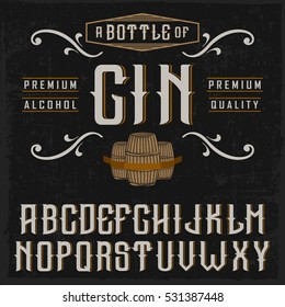 """Handcrafted """"Gin"""" font with barrels and decorations, on black background"""