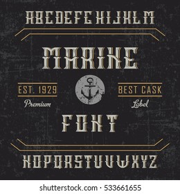 Handcrafted 'Marine' font with an anchor and decorations, dusty background