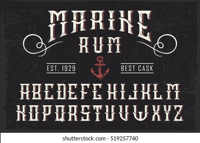 Handcrafted 'Marine Rum' font with and anchor and decoration, vintage background