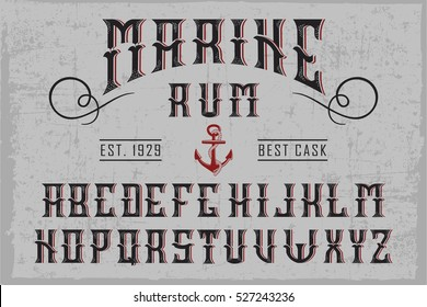 Handcrafted 'Marine Rum' font with an anchor and decorations, dusty background