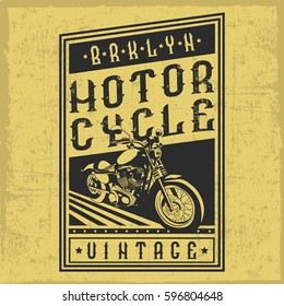 Handcrafted motorcycle label with a vintage font. T-shirt design.