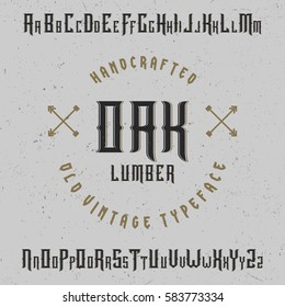 Handcrafted 'Oak' typeface with arrows. Label font. Vintage font.