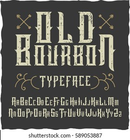 Handcrafted 'Old Bourbon' vintage typeface with decorations.